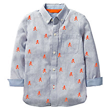 Buy Mini Boden Boys' Skull Embroidered Shirt, Blue/Orange Online at johnlewis.com