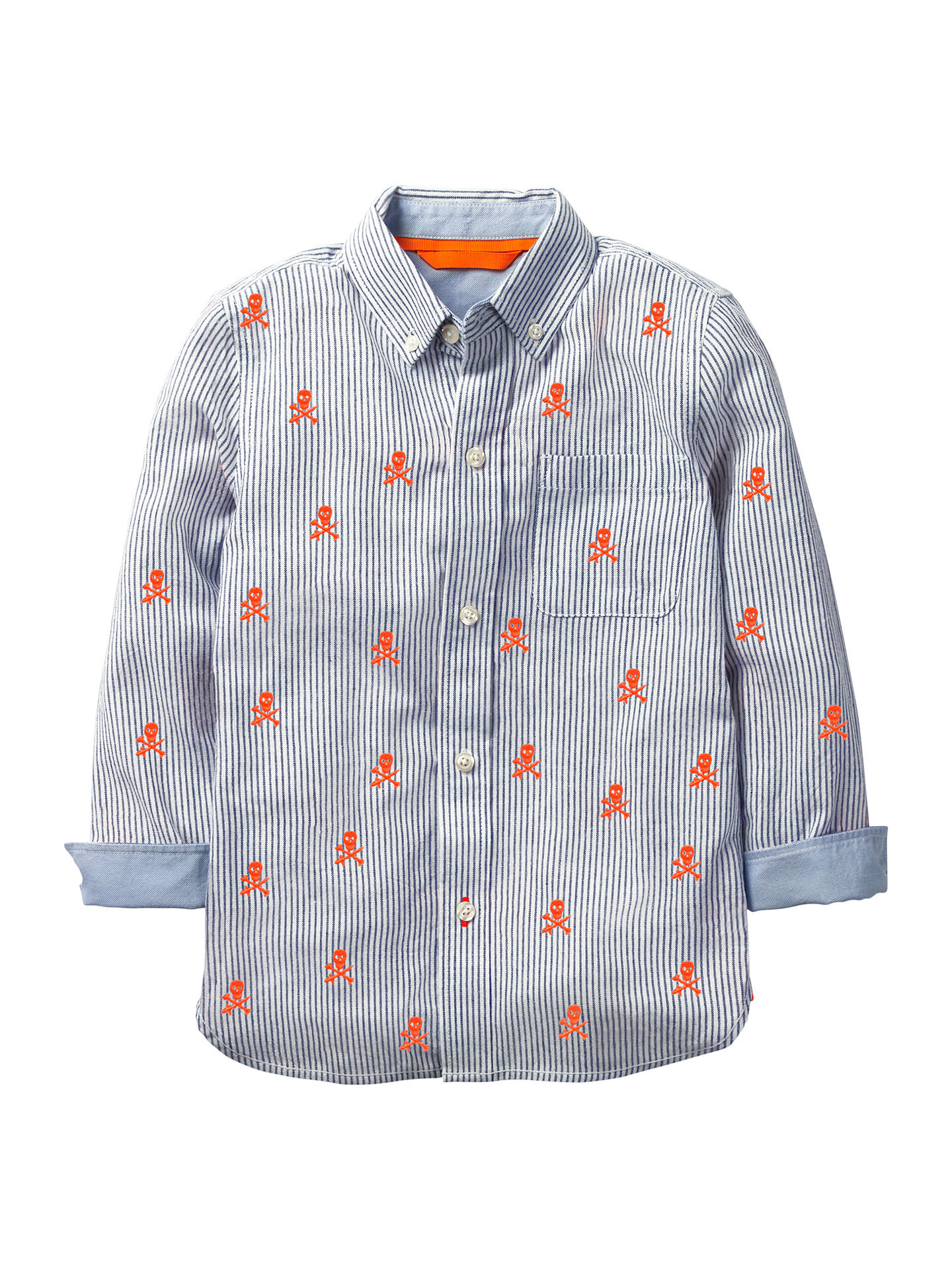 Mini Boden Boys\' Skull Embroidered Shirt, Blue/Orange at John Lewis ...