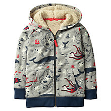 Buy Mini Boden Boys' Raglan Fluffy Deep Sea Print Hoodie, Grey Online at johnlewis.com