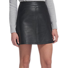 Buy Whistles A-Line Mini Leather Skirt, Black Online at johnlewis.com