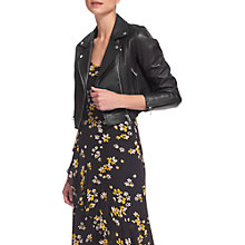 Buy Whistles Rose Crop Leather Jacket, Black Online at johnlewis.com