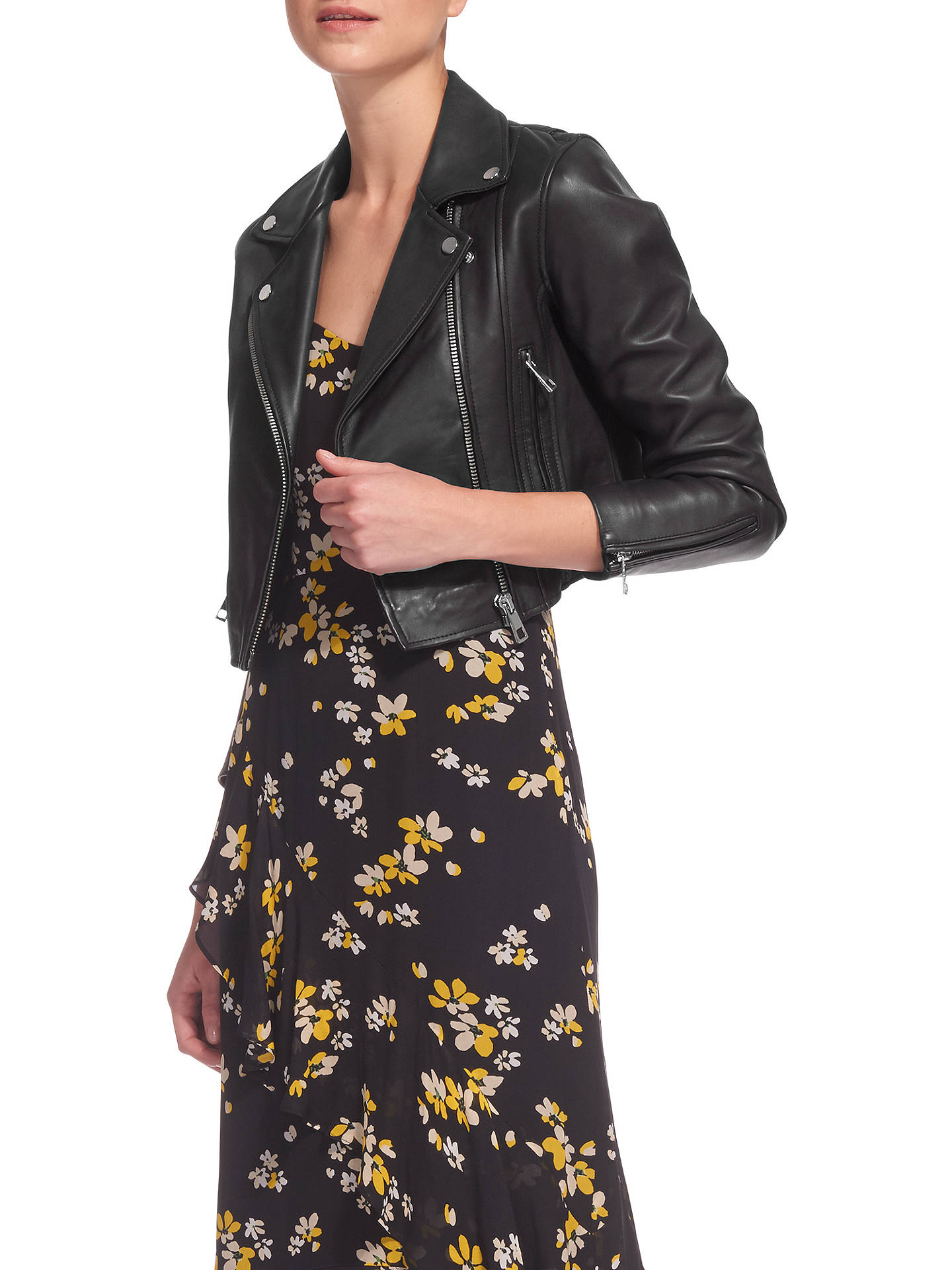 BuyWhistles Rose Crop Leather Jacket, Black, 6 Online at johnlewis.com