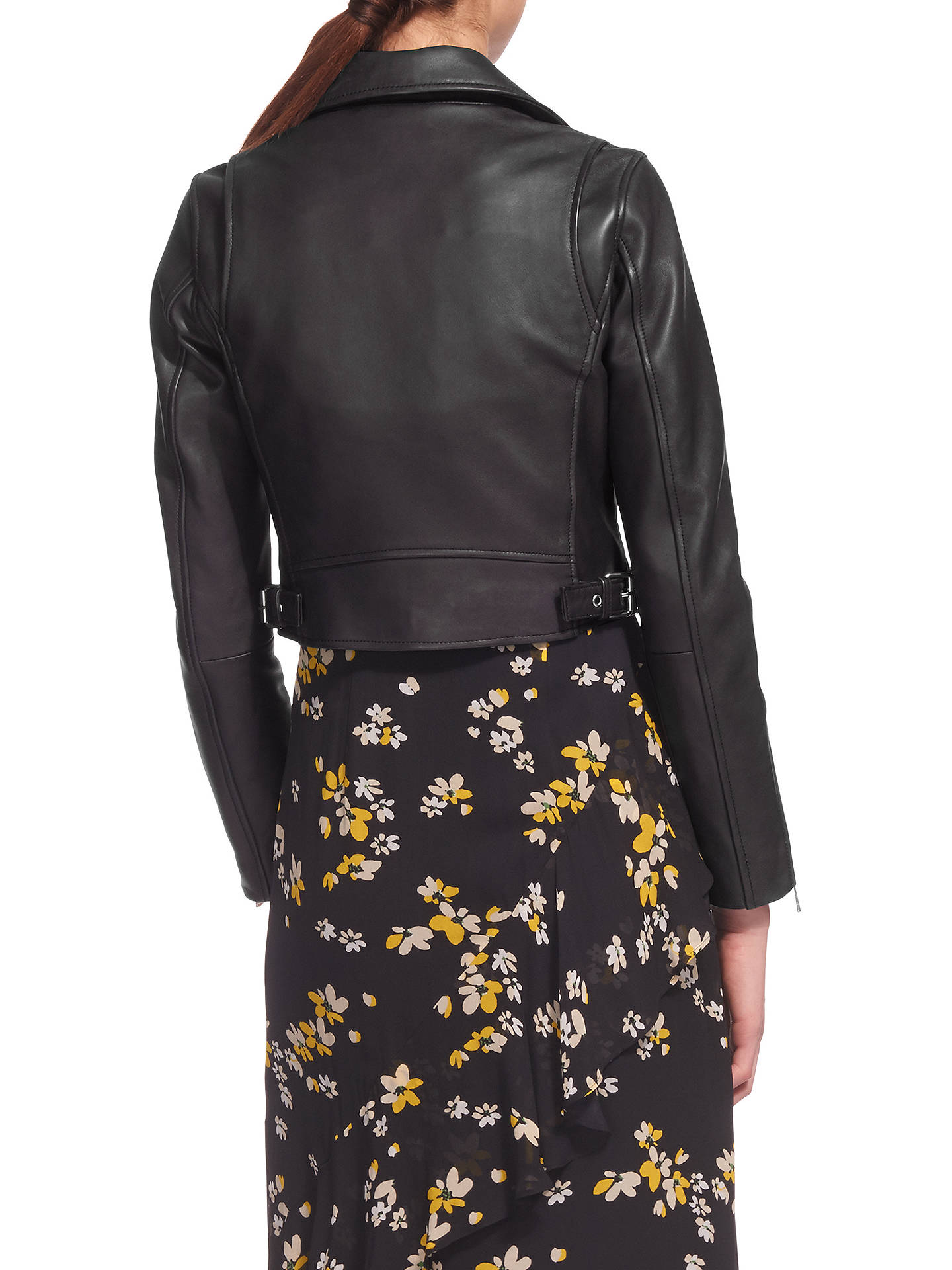 wholesale limpid in sight separation shoes Whistles Rose Crop Leather Jacket, Black at John Lewis ...