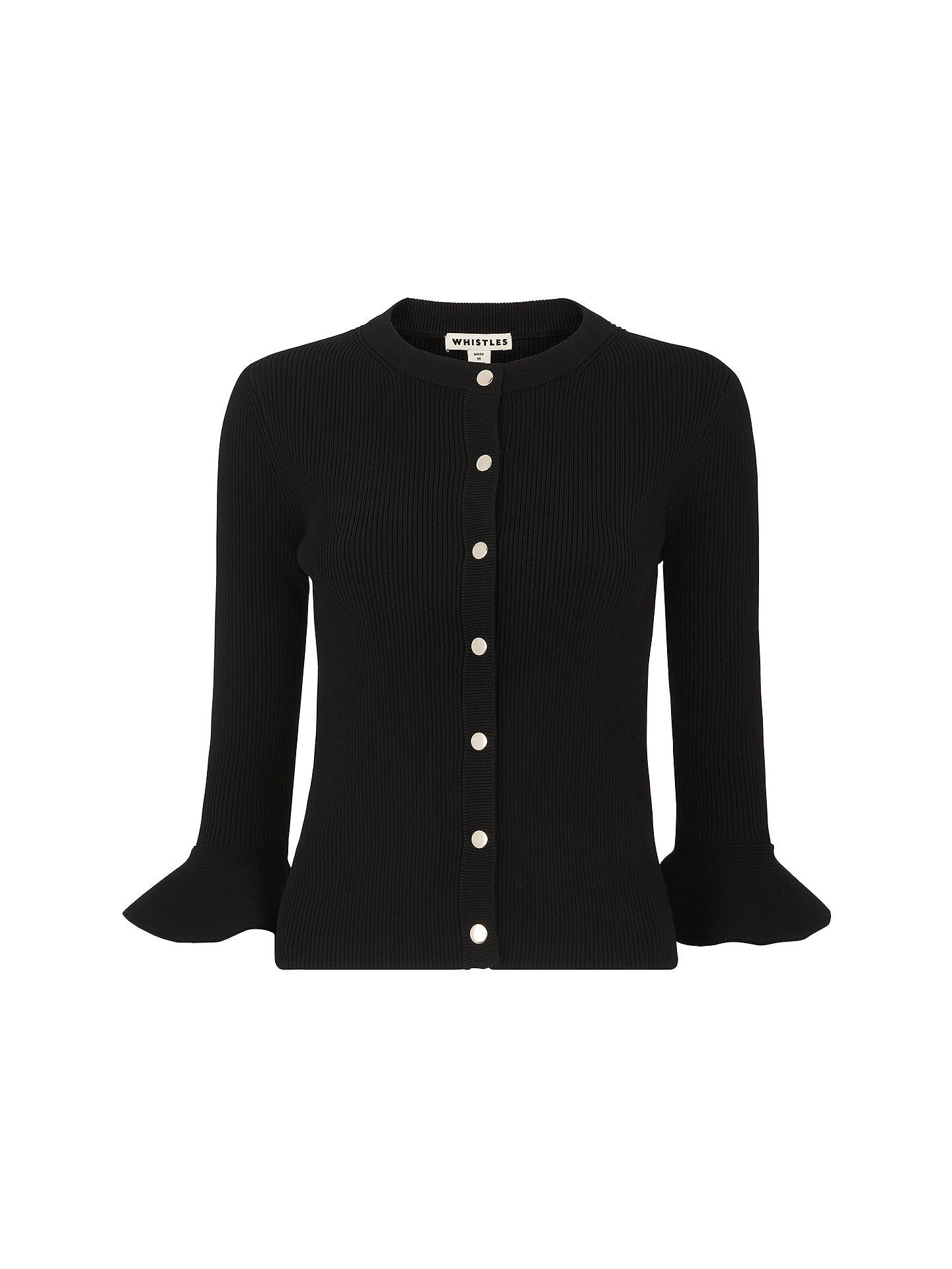 BuyWhistles Frill Cuff Knitted Cardigan, Black, XS Online at johnlewis.com