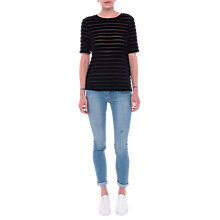Buy French Connection Velvet Bernice Stripe Top, Black Online at johnlewis.com