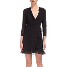 Buy Whistles Mimi Dobby Frill Wrap Dress, Black Online at johnlewis.com