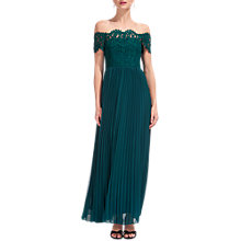 Buy Whistles Bardot Lace Maxi Dress, Green Online at johnlewis.com