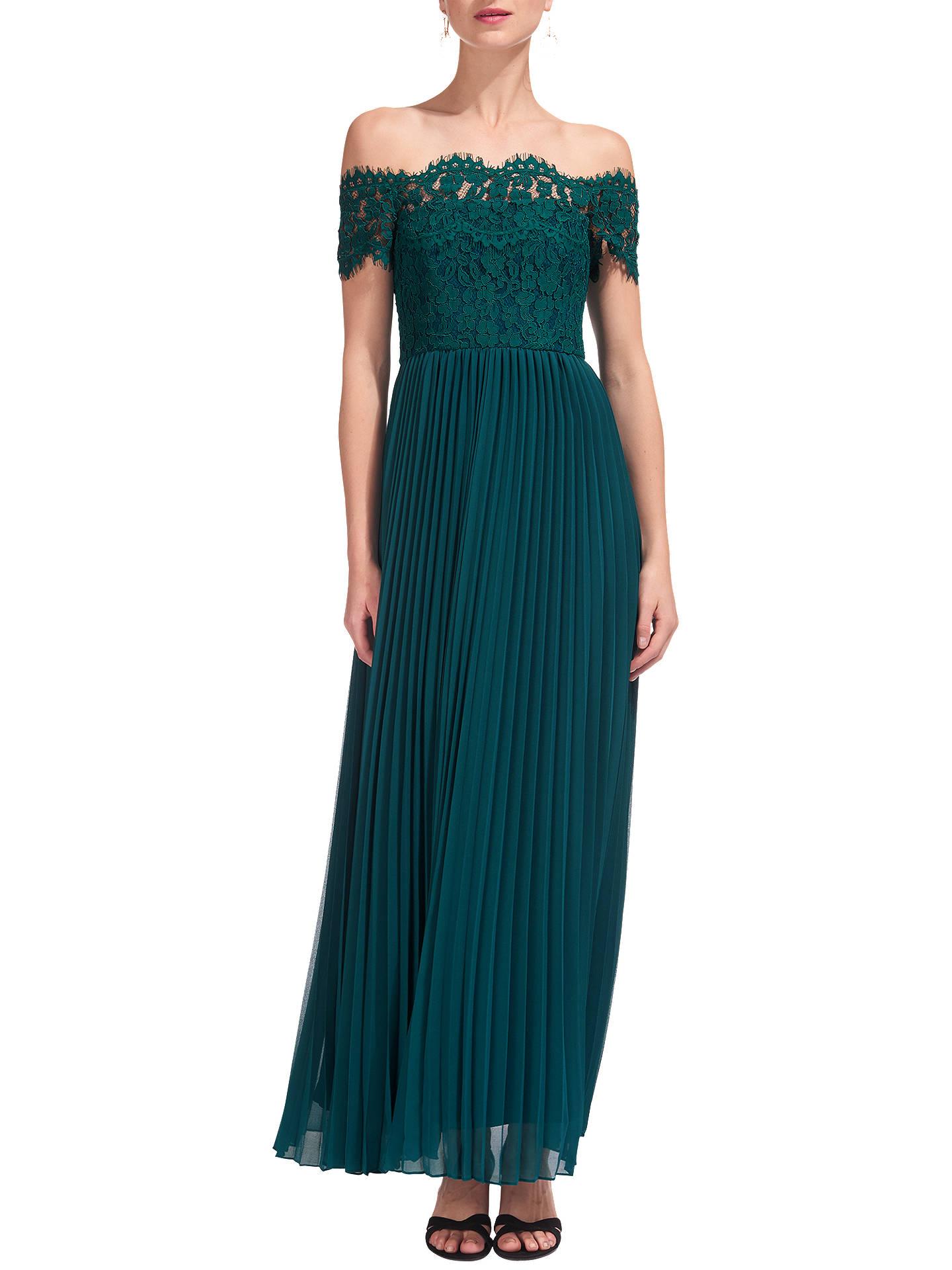 Whistles Bardot Lace Maxi Dress Green At John Lewis Partners