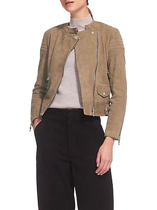 Whistles Suede Collarless Leather Jacket, Khaki