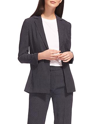 Whistles Mini Spot Print Blazer, Navy