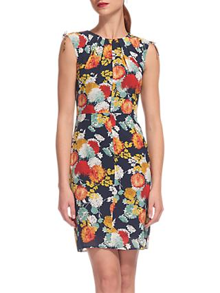 Whistles Floral Print Bodycon Dress, Multi
