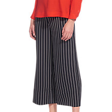 Buy Whistles Stripe Wide Leg Crop Trousers, Navy Online at johnlewis.com