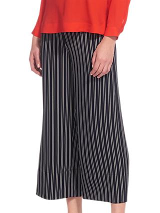 Whistles Stripe Wide Leg Crop Trousers, Navy