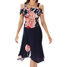 Buy Coast Jussieu Cold Shoulder Dress, Navy/Multi Online at johnlewis.com