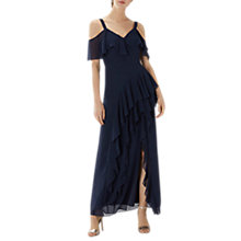 Buy Coast Illy Ruffle Cold Shoulder Dress, Navy Online at johnlewis.com