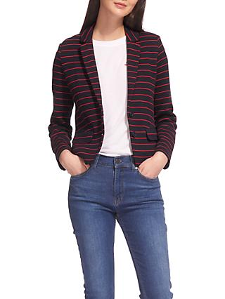 Whistles Stripe Jersey Jacket, Navy/Multi