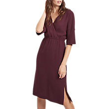 Buy Jaeger Drape Shoulder Dress, Purple/Plain Online at johnlewis.com