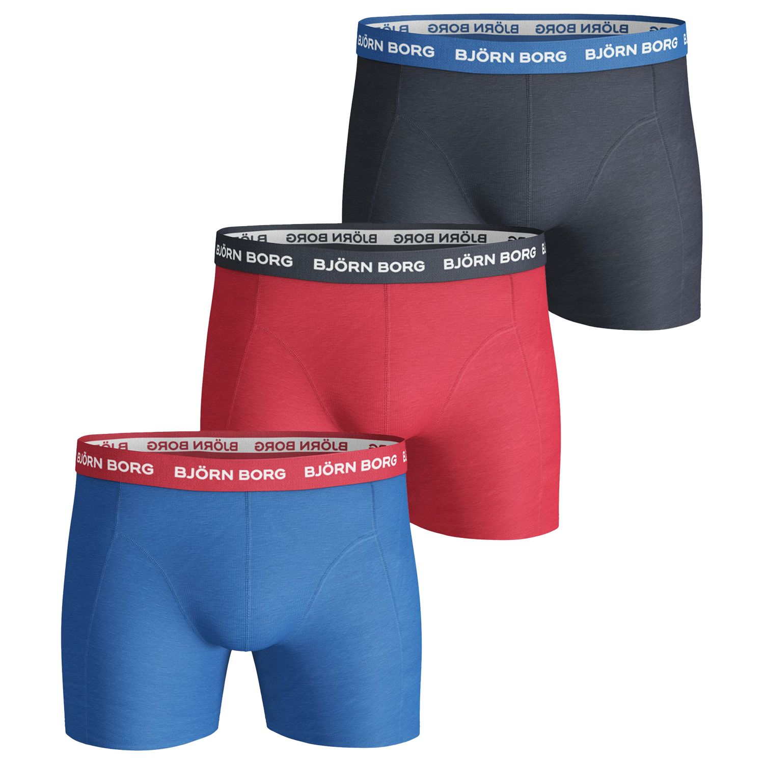 Bjorn Borg Björn Borg Noos Contrast Waistband Trunks, Pack of 3, Blue/Red/Black