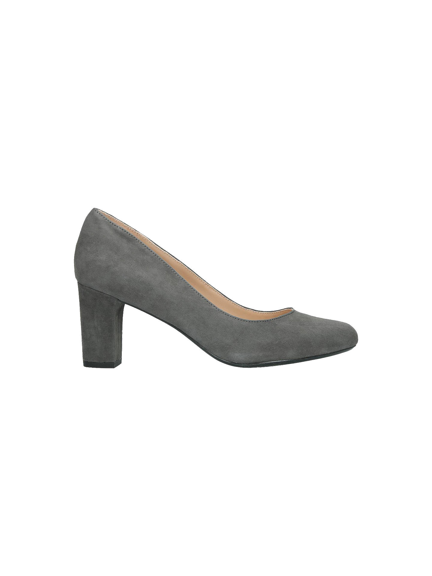 9c0f3091e36db Buy Kurt Geiger London Chester Block Heel Court Shoes, Grey Suede, 3 Online  at ...