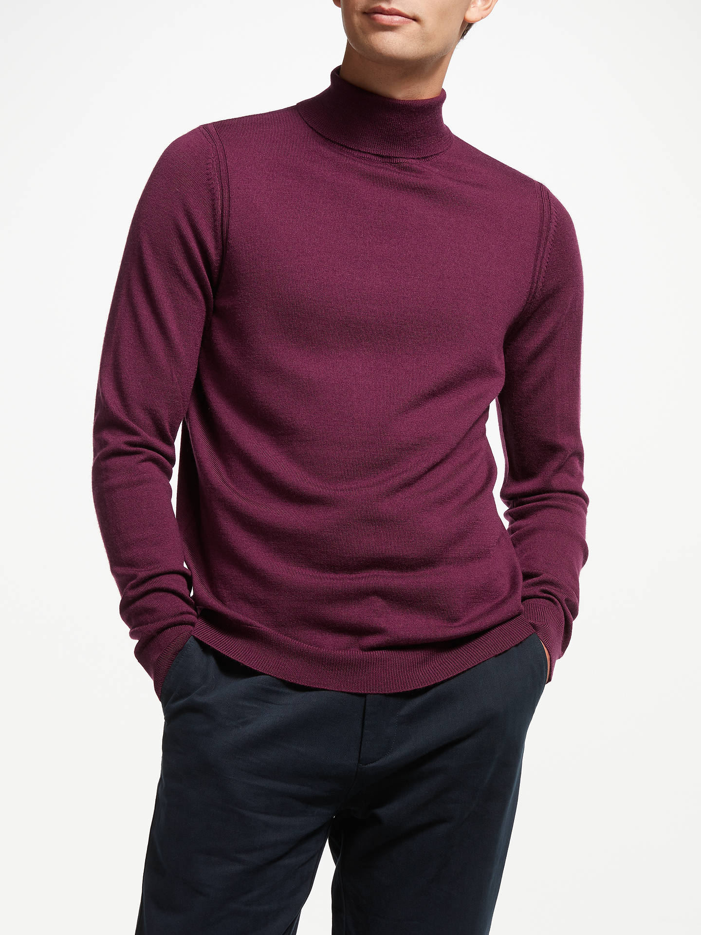 BuyJohn Lewis & Partners Extra Fine Merino Wool Roll Neck Jumper, Wine, M Online at johnlewis.com