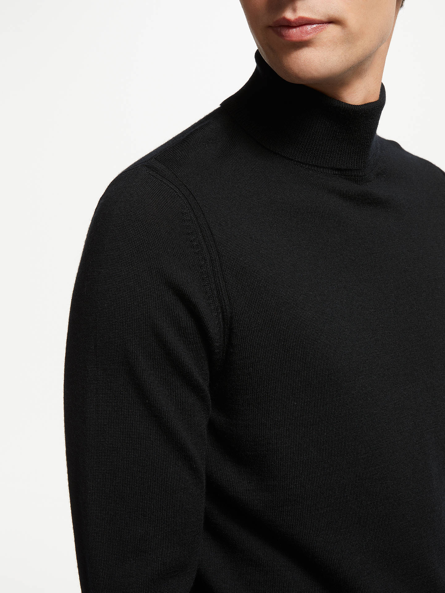Buy John Lewis & Partners Extra Fine Merino Wool Roll Neck Jumper, Black, M Online at johnlewis.com
