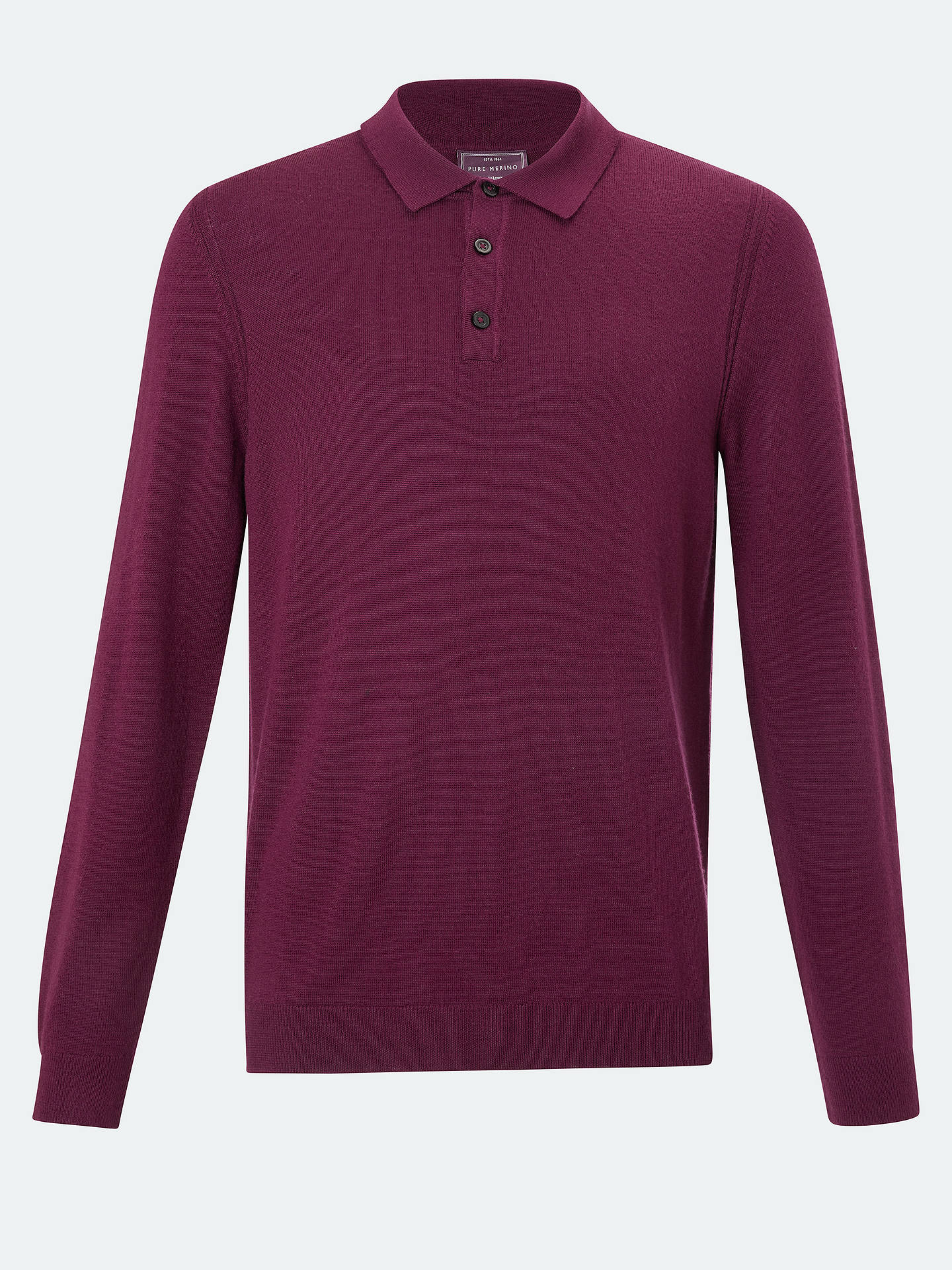 BuyJohn Lewis & Partners Merino Polo Shirt, Wine, S Online at johnlewis.com