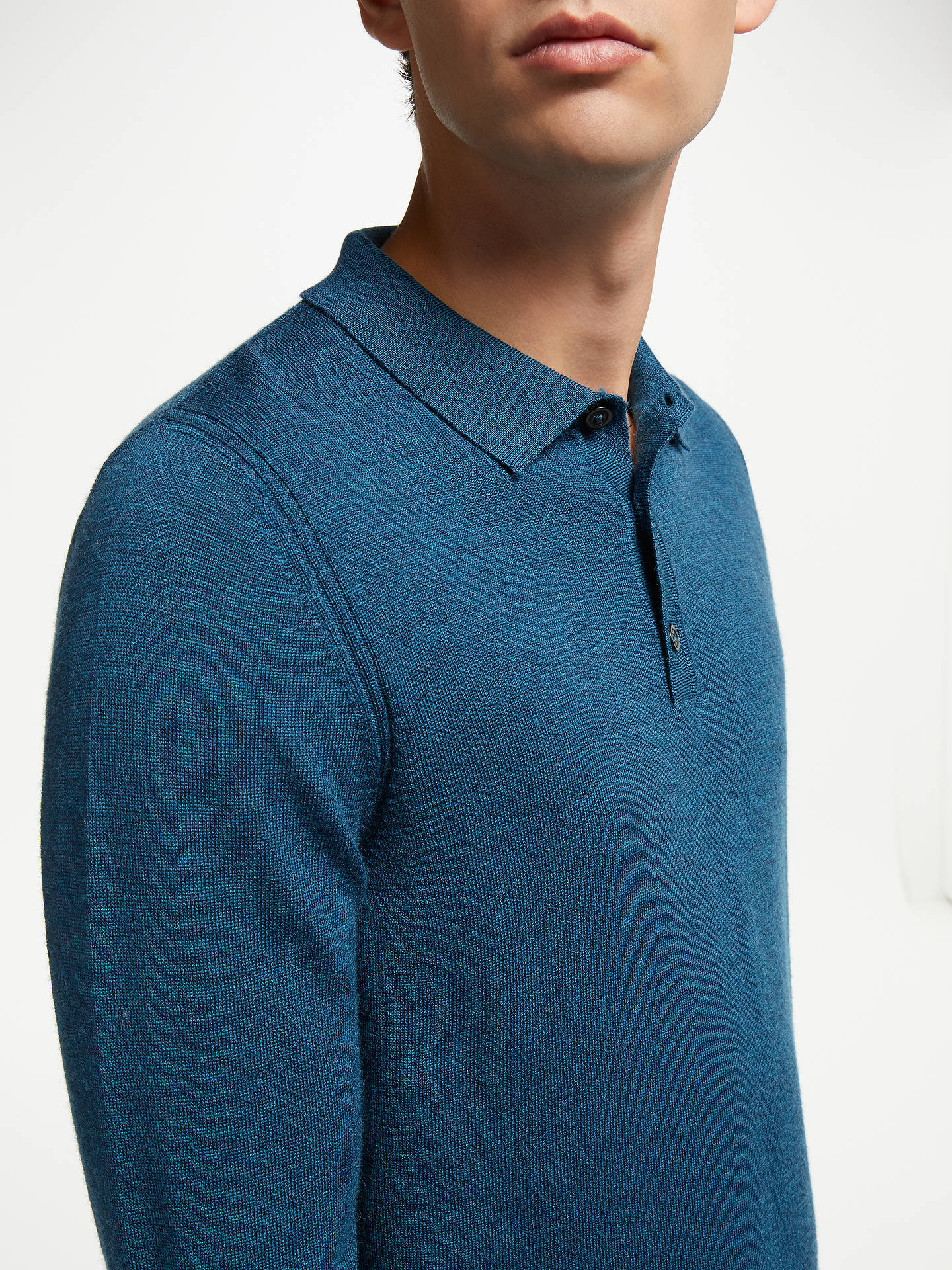 BuyJohn Lewis & Partners Merino Polo Shirt, Petrol Blue, S Online at johnlewis.com