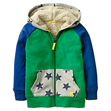 Buy Mini Boden Boys' Raglan Fluffy Hoodie, Green Online at johnlewis.com