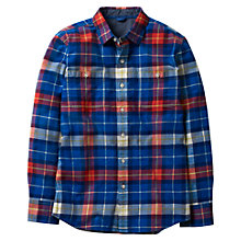 Buy Mini Boden Boys' Cosy Checked Shirt, Blue/Red Online at johnlewis.com