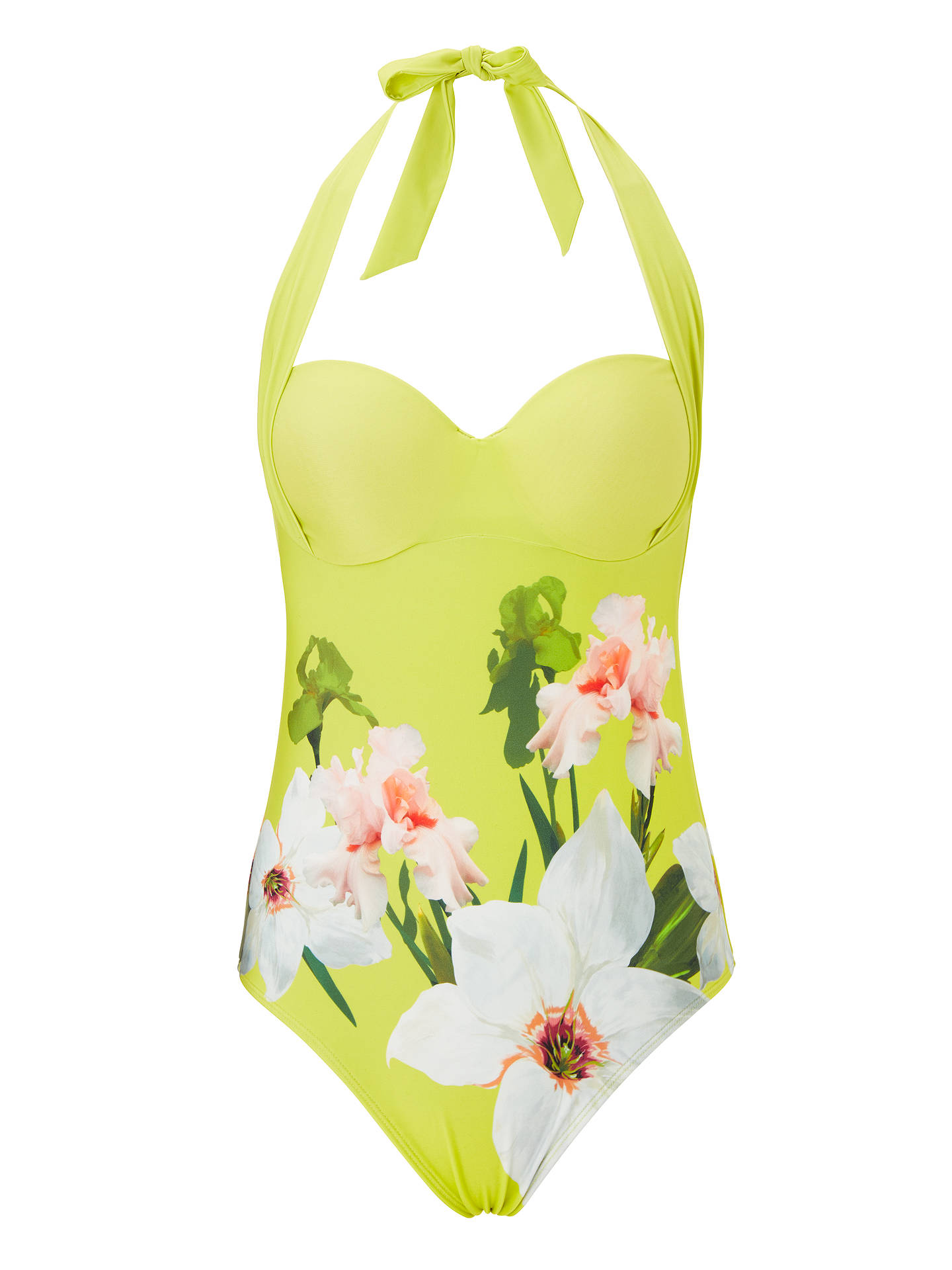 BuyTed Baker Tuela Chatsworth Bloom Halter Swimsuit, Green/Multi, 34A-B Online at johnlewis.com