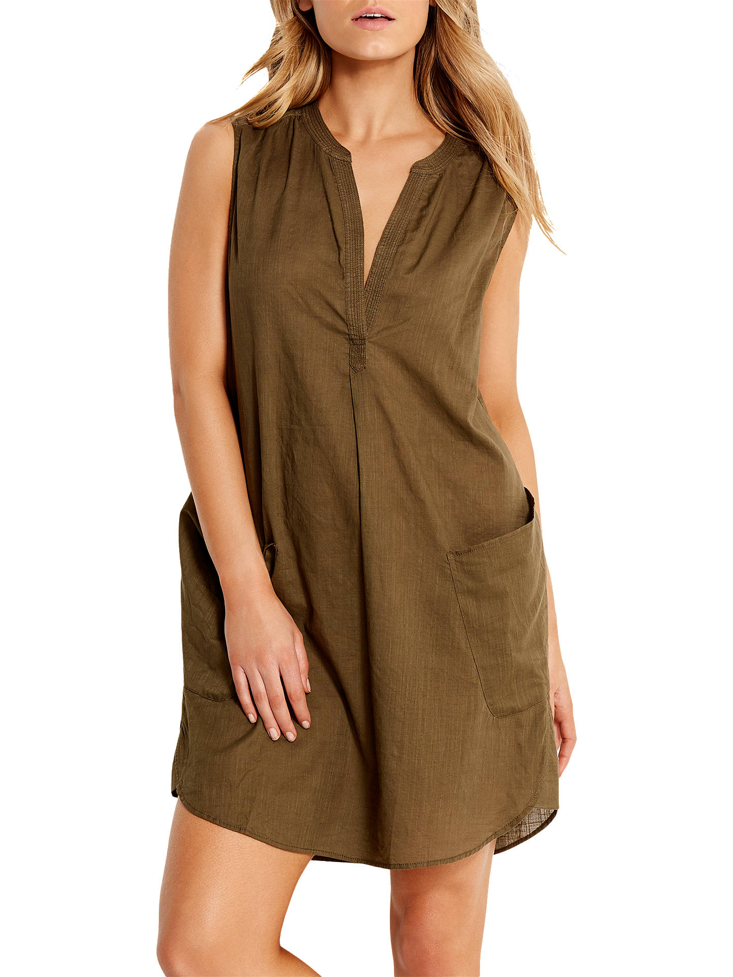 68a9902ed4 Buy Seafolly Sleeveless Boyfriend Beach Shirt, Dark Olive, S Online at  johnlewis.com ...