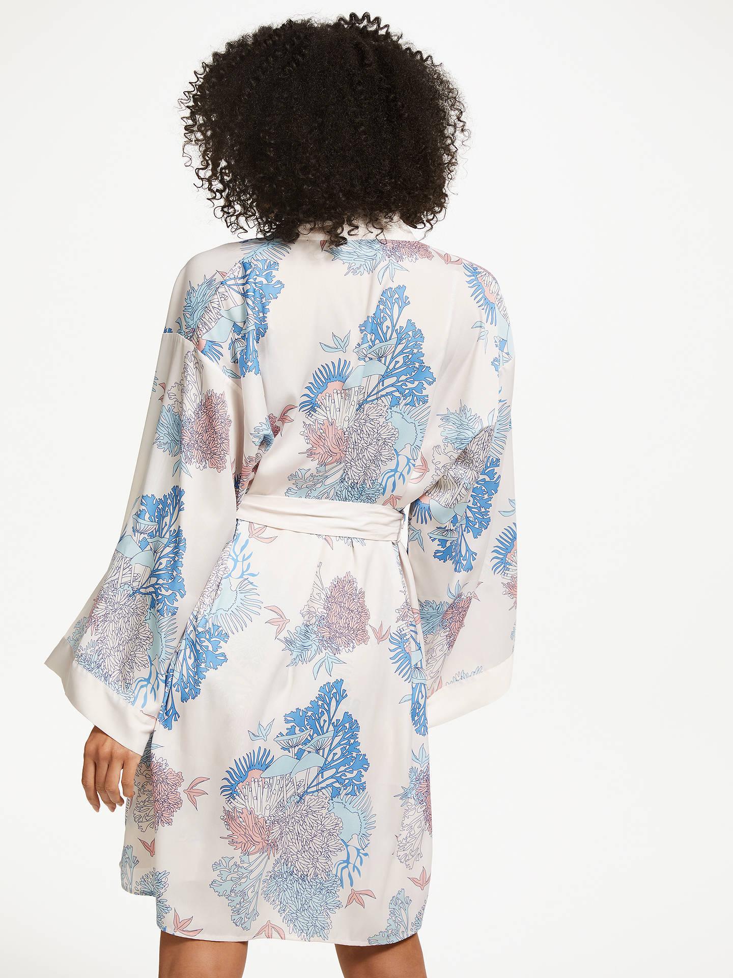 John Lewis & Partners Coral Print Satin Dressing Gown, Multi at John ...