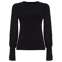 Buy Damsel in a Dress Peyton Button Sleeve Jumper, Black Online at johnlewis.com