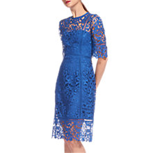 Buy Whistles Lace Frill Hem Dress, Blue Online at johnlewis.com