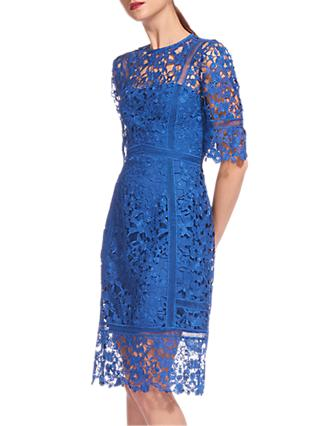 Whistles Lace Frill Hem Dress, Blue