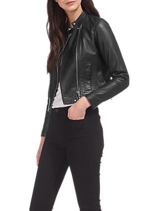Whistles Clean Collarless Leather Jacket, Black