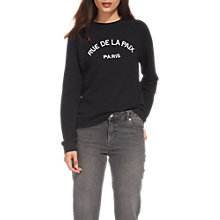 Buy Whistles Rue De La Paix Sweatshirt, Black Online at johnlewis.com