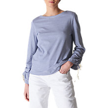 Buy Whistles Gathered Sleeve Boat Neck T-Shirt, Multi Online at johnlewis.com