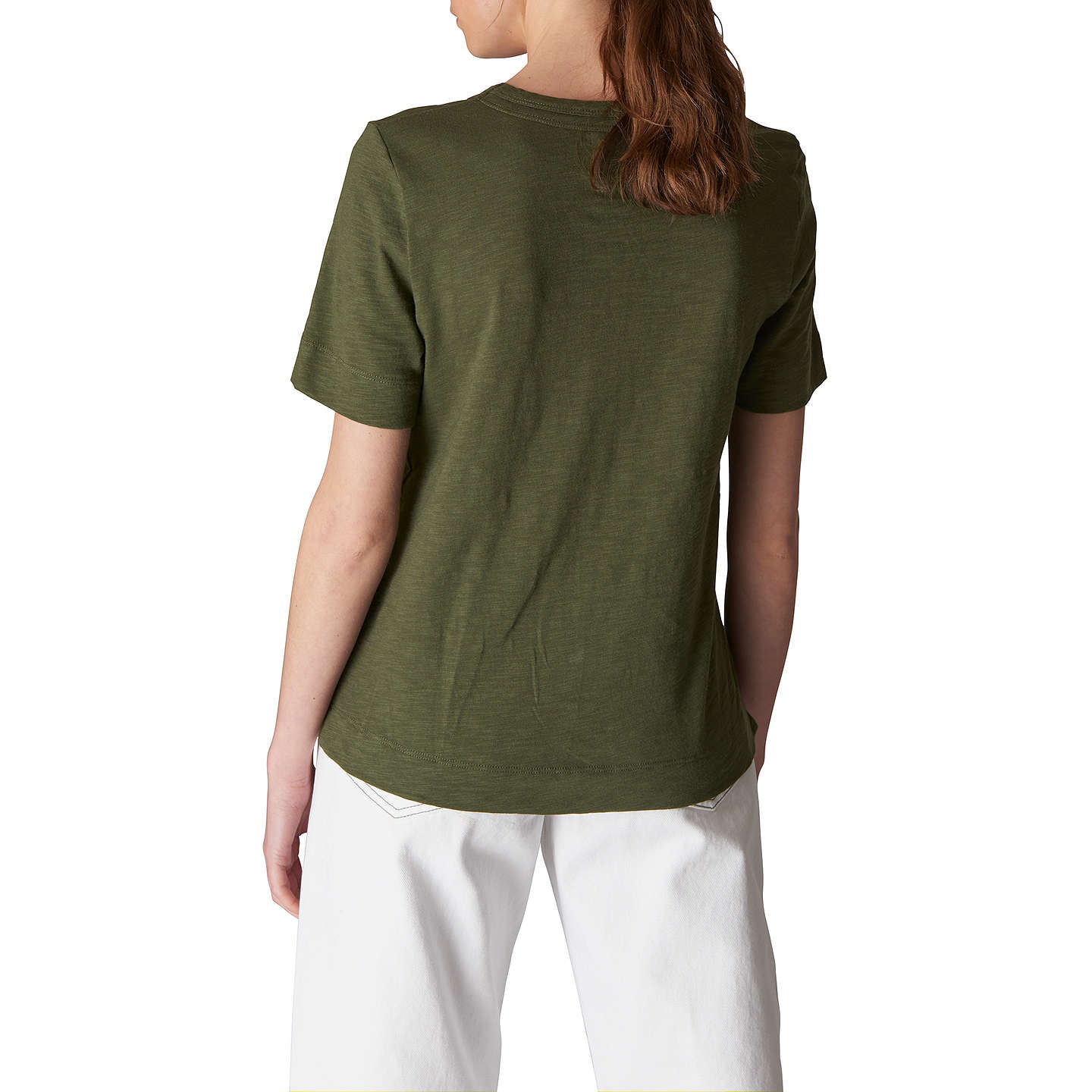 BuyWhistles Rosa Double Trim T-Shirt, Khaki, XS Online at johnlewis.com