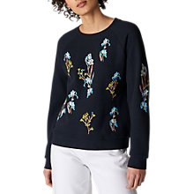 Buy Whistles Iris Floral Embroidered Sweatshirt, Multi Online at johnlewis.com