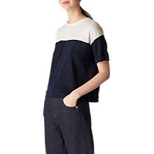 Buy Whistles Colour Block Linen T-Shirt, Multi Online at johnlewis.com