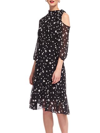 Whistles Micro Tulip Tie Neck Dress, Navy/Multi