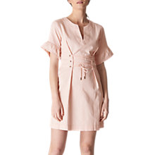 Buy Whistles Mila Lace Up Waist Dress, Pale Pink Online at johnlewis.com