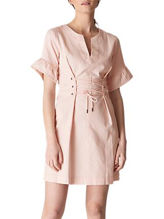 Whistles Mila Lace Up Waist Dress, Pale Pink