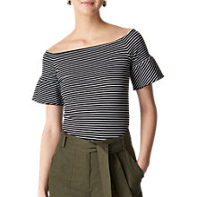 Buy Whistles Short Sleeve Frill Bardot Top Online at johnlewis.com