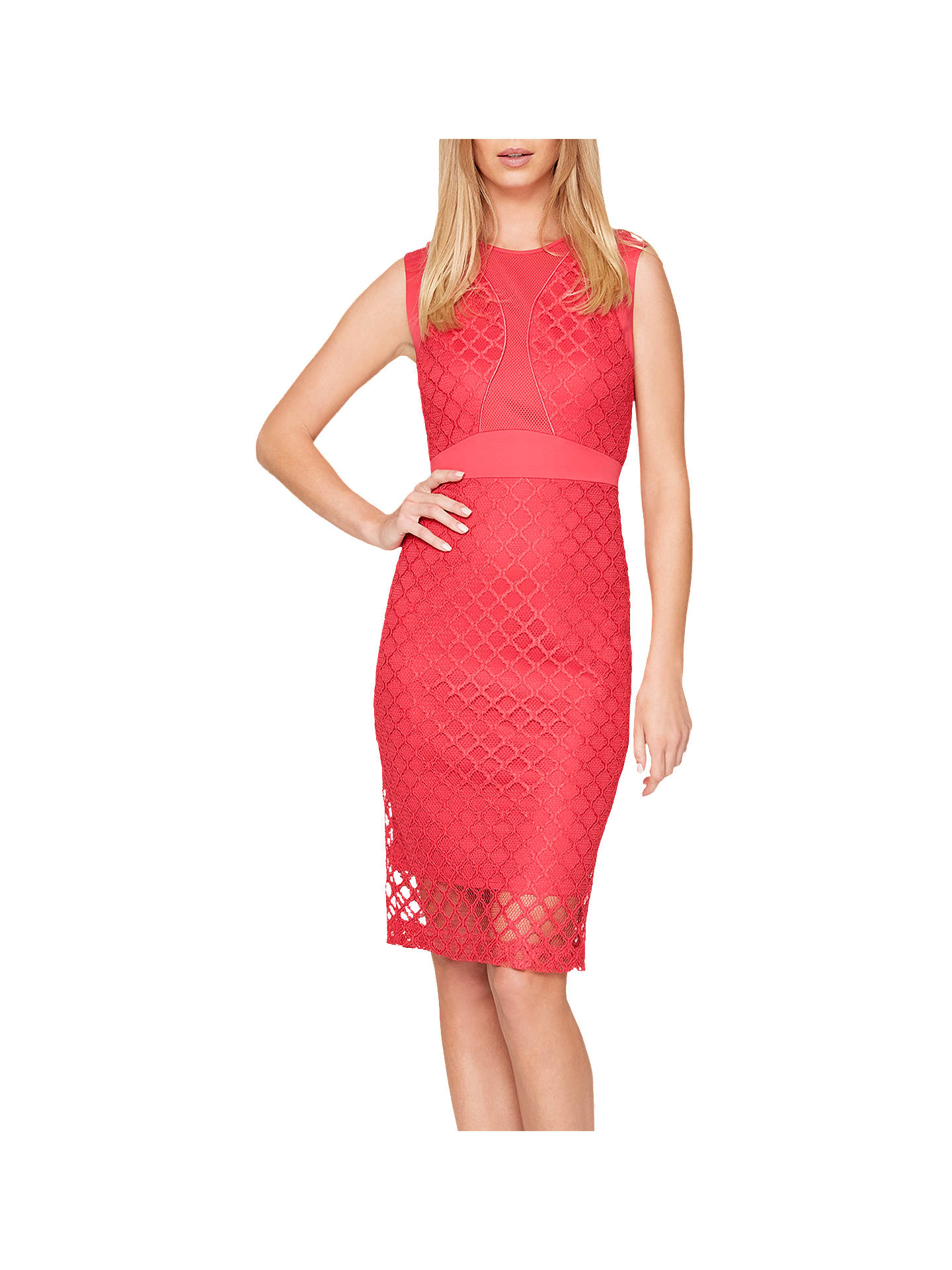 3f320a9e9782 Buy Damsel in a Dress Grid Lace Dress, Cherry, 8 Online at johnlewis.