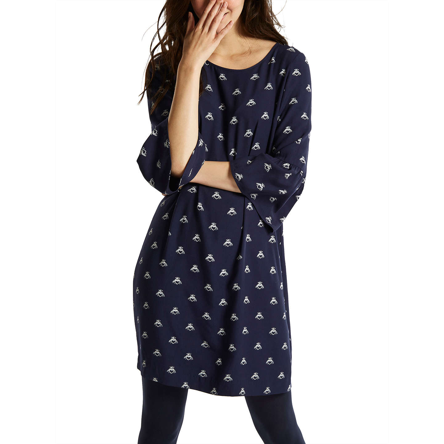 BuyJoules Gardenia Bell Sleeve Dress, Navy Love Bees, 8 Online at johnlewis.com
