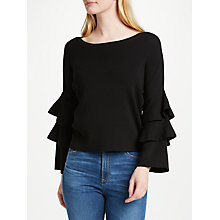 Buy Oui Frill Sleeve Jumper, Black Online at johnlewis.com