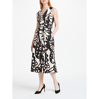 Marc Cain Printed Cotton Midi Dress, Black/Off White