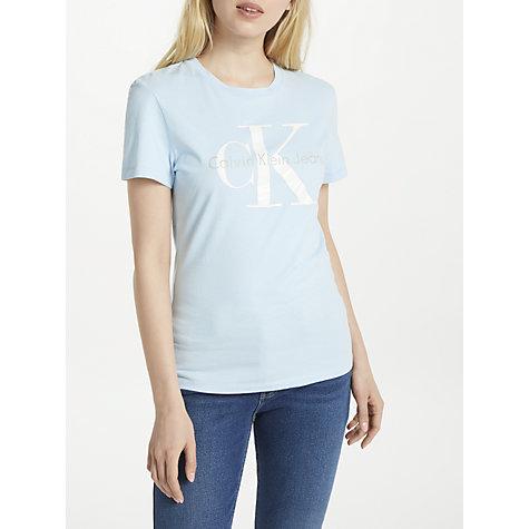 Buy Calvin Klein Shrunken True Icon T-Shirt, Chambray Blue | John ...